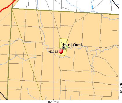 Hartford, OH (43013) map