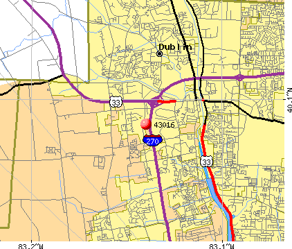 Dublin, OH (43016) map