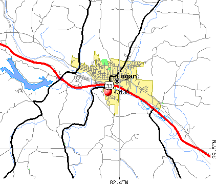 Logan, OH (43138) map