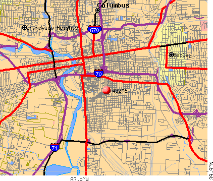 Columbus, OH (43206) map