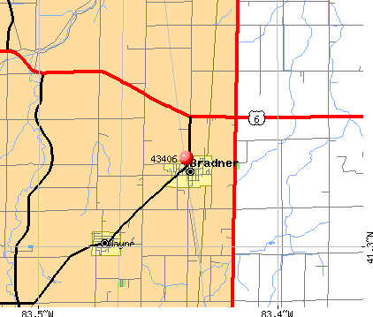 Bradner, OH (43406) map
