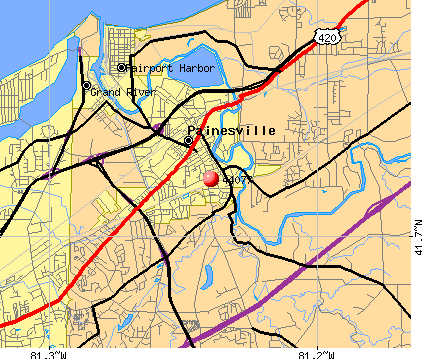 Painesville, OH (44077) map