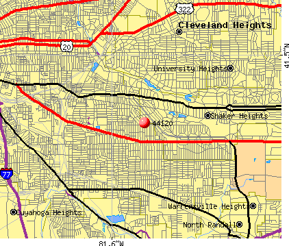 Shaker Heights, OH (44120) map
