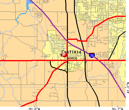 Canfield, OH (44406) map