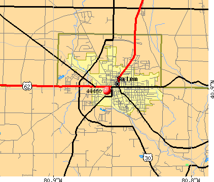 Salem, OH (44460) map