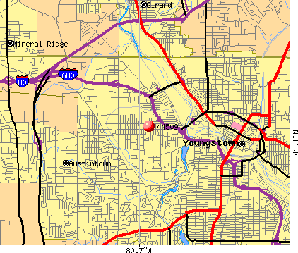 Youngstown, OH (44509) map