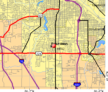 Boardman, OH (44512) map