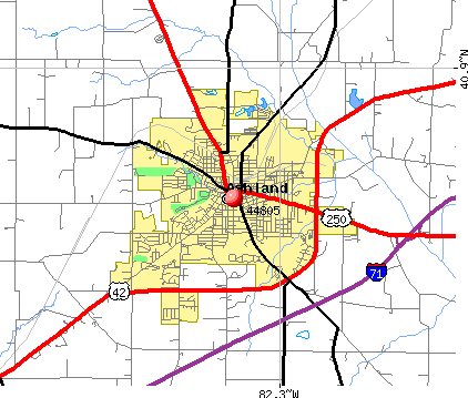 Ashland, OH (44805) map