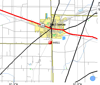 Bellevue, OH (44811) map
