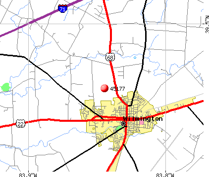 Wilmington, OH (45177) map