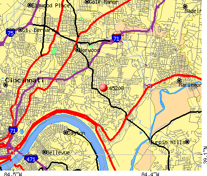 Cincinnati, OH (45208) map