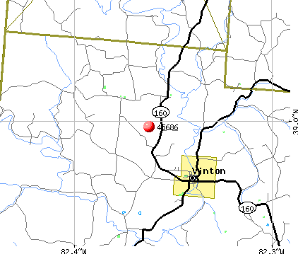 Vinton, OH (45686) map