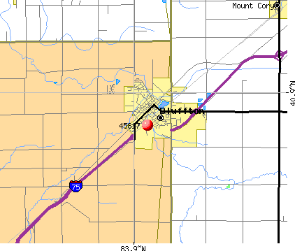 Bluffton, OH (45817) map