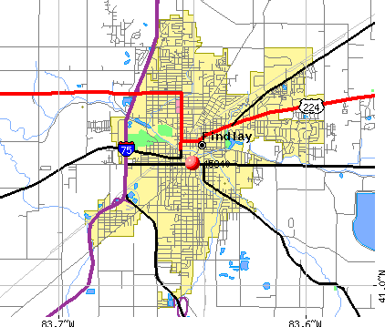 Findlay, OH (45840) map