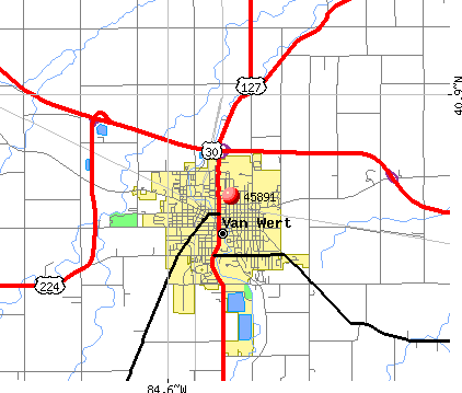 Van Wert, OH (45891) map