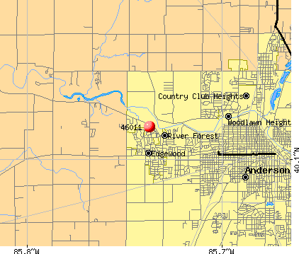 Anderson, IN (46011) map