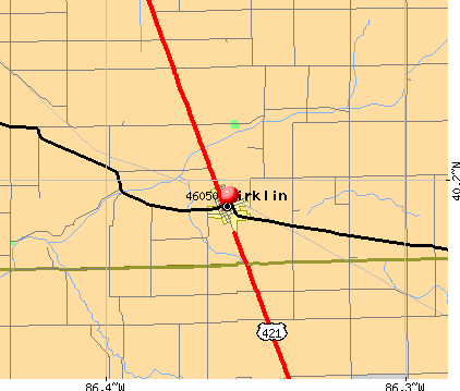 Kirklin, IN (46050) map