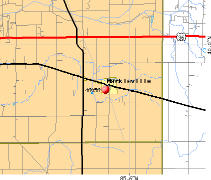 Markleville, IN (46056) map