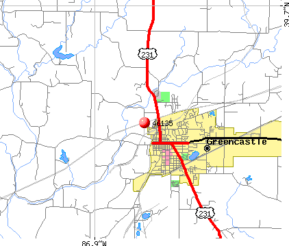 Greencastle, IN (46135) map