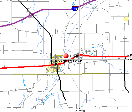 Knightstown, IN (46148) map