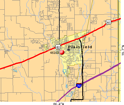 Plainfield, IN (46168) map