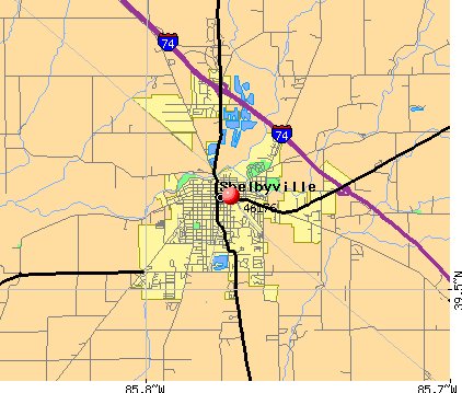 Shelbyville, IN (46176) map