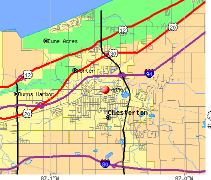 Chesterton, IN (46304) map