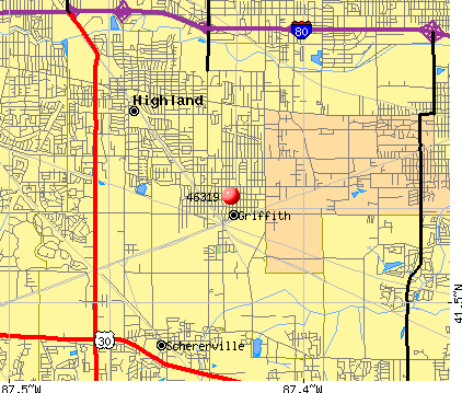 Griffith, IN (46319) map
