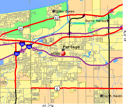 Portage, IN (46368) map