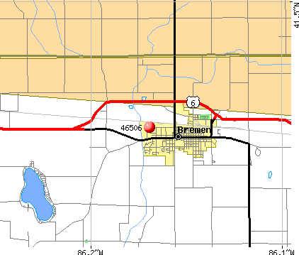 Bremen, IN (46506) map