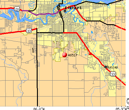 Elkhart, IN (46517) map