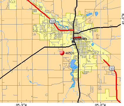 Goshen, IN (46526) map