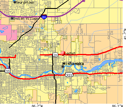 Mishawaka, IN (46545) map