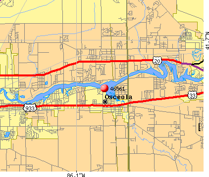 Osceola, IN (46561) map
