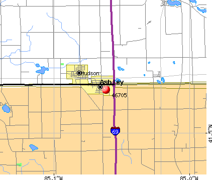 Ashley, IN (46705) map