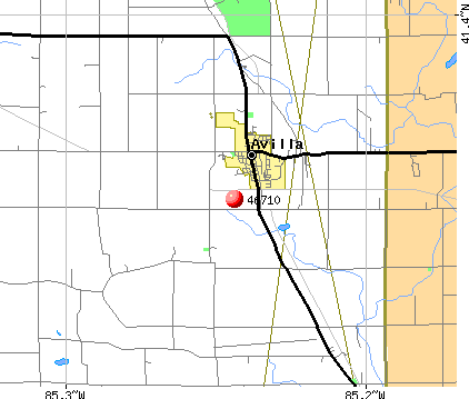 Avilla, IN (46710) map