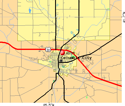 Columbia City, IN (46725) map