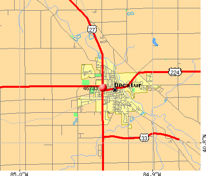 Decatur, IN (46733) map