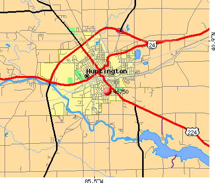 Huntington, IN (46750) map