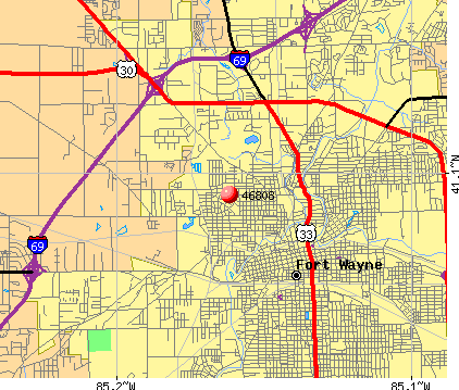 Fort Wayne, IN (46808) map