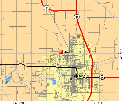 Kokomo, IN (46901) map