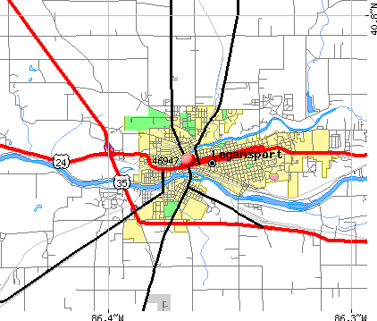 Logansport, IN (46947) map