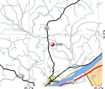 Vevay, IN (47043) map