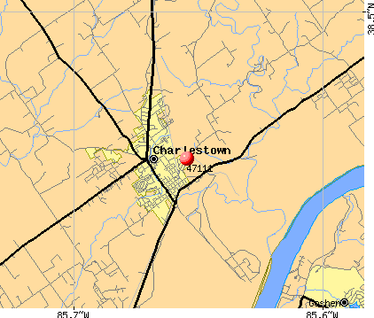 Charlestown, IN (47111) map