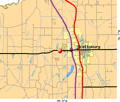 Scottsburg, IN (47170) map