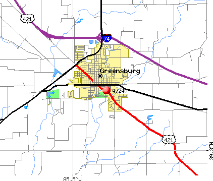 Greensburg, IN (47240) map