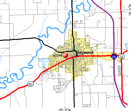 Seymour, IN (47274) map