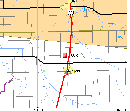 Bryant, IN (47326) map