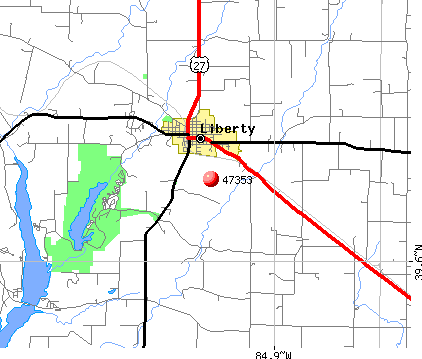 Liberty, IN (47353) map