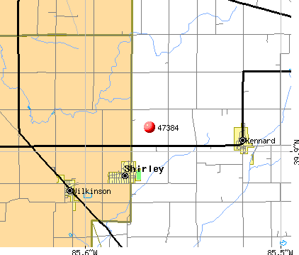 Shirley, IN (47384) map